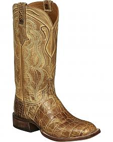 Lucchese Tan Giant Gator Vince Cowboy Boots - Square Toe