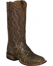 Lucchese Chocolate Vince Giant Gator Cowboy Boots - Square Toe