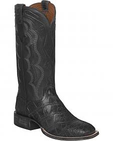 Lucchese Dark Grey Vince Giant Gator Cowboy Boots - Square Toe