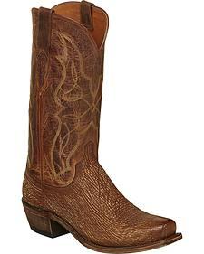 Lucchese Cognac Carl Sharkskin Cowboy Boots - Narrow Square Toe