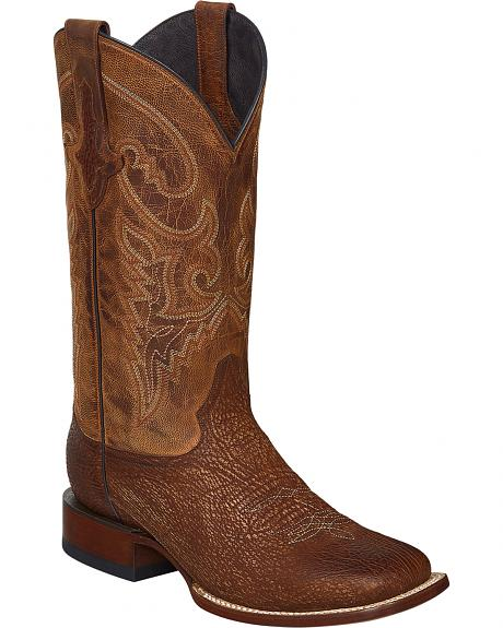 Lucchese Cognac Ryan Shark Cowboy Boots - Square Toe