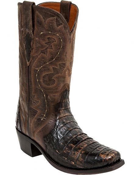 Lucchese Chocolate Dwight Caiman Cowboy Boots - Square Toe