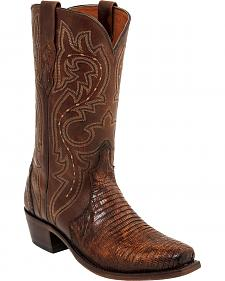 Lucchese Rust Dwight Lizard Cowboy Boots - Square Toe