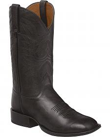Lucchese Black Jason Lone Star Calf Cowboy Boots - Square Toe