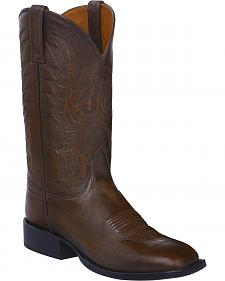 Lucchese Dark Brown Giant Calf Jason Cowboy Boots - Square Toe