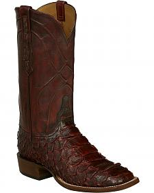 Lucchese Wine Perry Giant Python Cowboy Boots - Square Toe