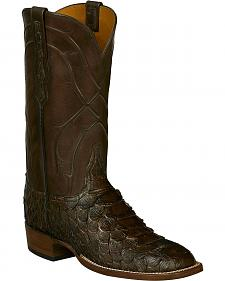 Lucchese Brown Perry Giant Python Cowboy Boots - Square Toe