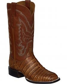 Lucchese Tan Sean Belly Caiman Cowboy Boots - Square Toe