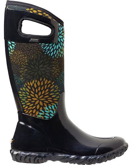 Bogs Women's North Hampton Black Floral Waterproof Boots