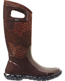 Bogs Women's North Hampton Brown Floral Waterproof Boots