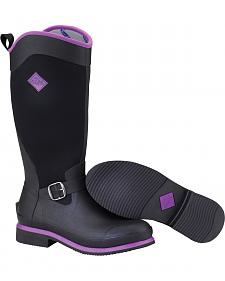 Muck Women's Black and Purple Reign Tall Equestrian Boots