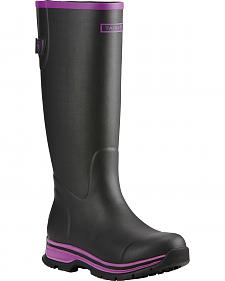 Ariat Women's Black Purple Fernlee Rubber Outdoor Boots