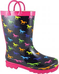 Smoky Mountain Girls' Ponies Waterproof Boots