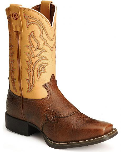 Tony Lama 3R Series Fancy Stitched Stockman Cowboy Boots - Square Toe