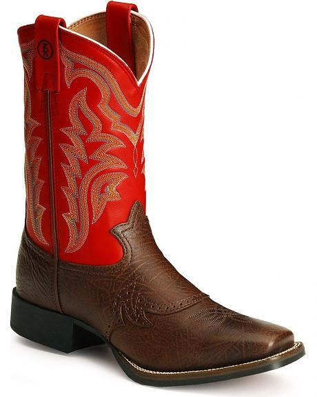 Tony Lama 3R Series Saddle Stockman Cowboy Boots - Square Toe