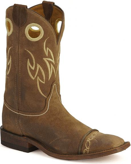 Justin Bent Rail Suede Testa Cowboy Boots- Wide Square Toe