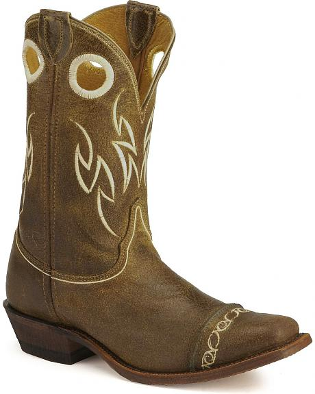 Justin Bent Rail Suede Testa Cowboy Boots- Square Toe