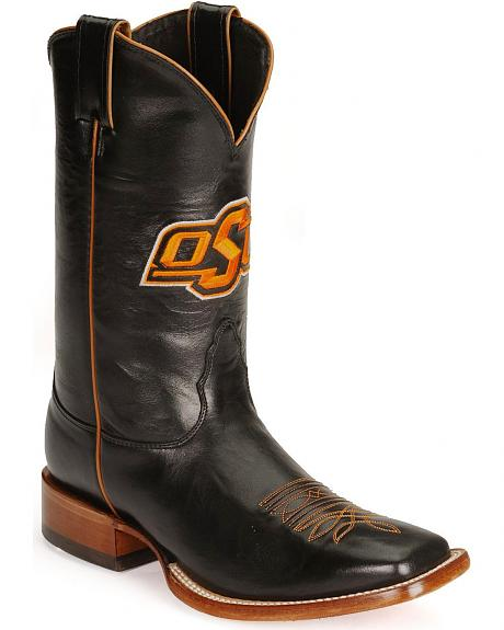 Nocona Men's Black Cowhide Oklahoma State College Boots - Square Toe