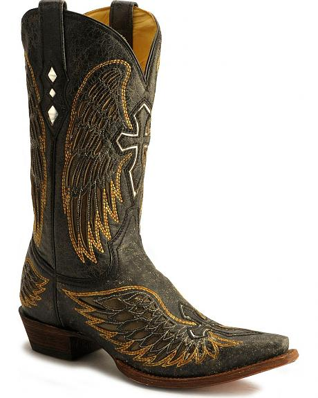 Corral Winged Cross Inlay Western Boots - Snip Toe