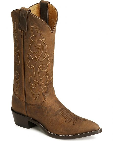 Justin Bay Apache Leather Cowboy Boots - Pointed Toe