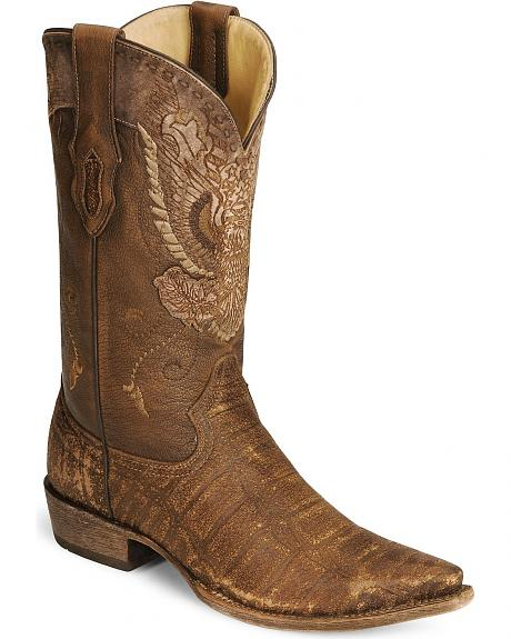 Corral Eagle Tooled Distressed Cowboy Boot - Snip Toe