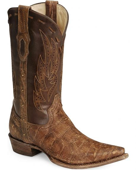 Corral Distressed Deer Tan Leather Cowboy Boot - Snip Toe