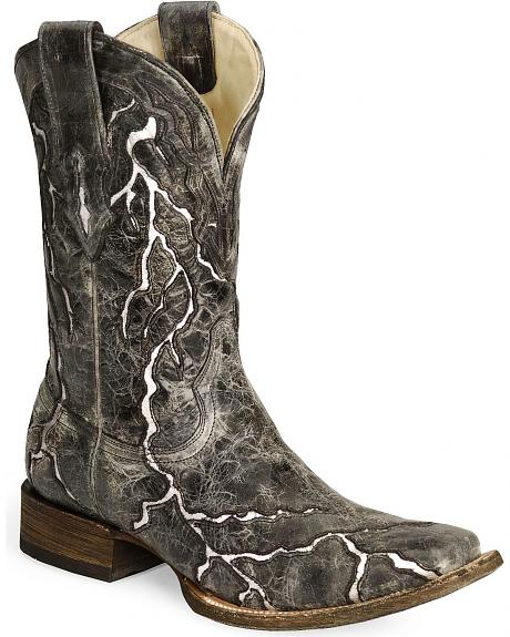 Corral Black Lightning Cowboy Boot - Square Toe