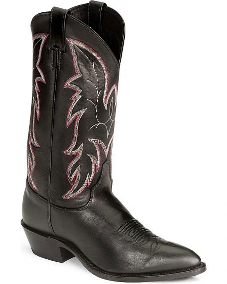 Justin Black Basic Western Boot - Pointed Toe