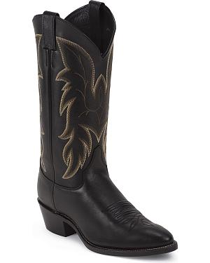 Justin Black Basic Western Boots - Medium Toe