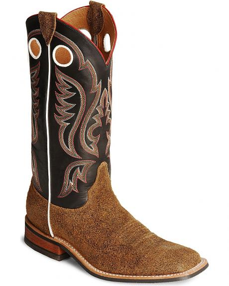 Justin Bent Rail Brown Cowboy Boots - Wide Square Toe