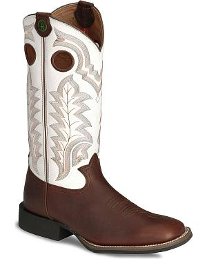 Tony Lama 3R Stockman Smooth Leather Cowboy Boots - Square Toe