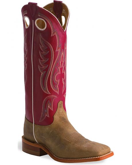 Justin Bent Rail Tan Cowboy Boots - Wide Square Toe