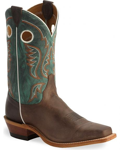 Justin Bent Rail Chocolate Cowboy Boots - Square Toe
