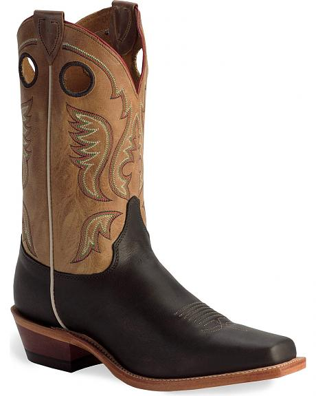 Justin Bent Rail Black Cowboy Boots - Square Toe