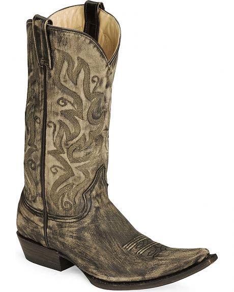 Stetson Black Sanded Wash Cowboy Boot - Pointed Toe
