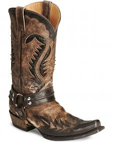 Stetson Brown Harness Cowboy Boots - Snip Toe