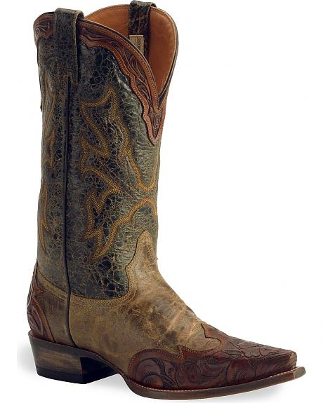 Stetson Brown Tooled Wingtip Boot - Snip Toe