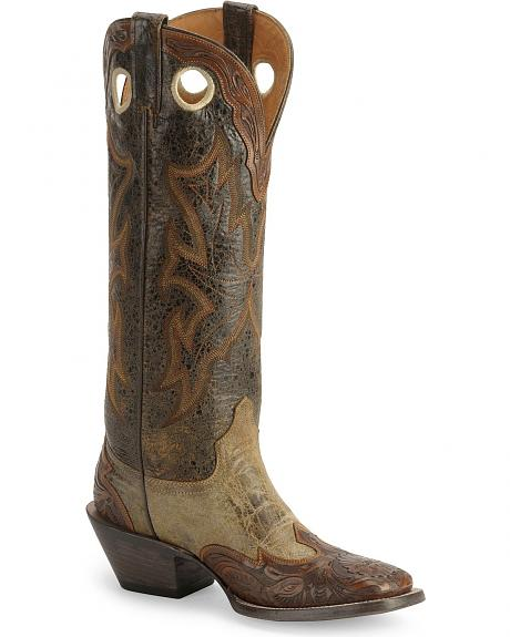 Stetson Tooled Wingtip Buckaroo Cowboy Boots - Wide Square Toe