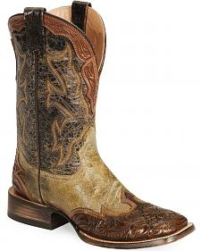 Stetson Men's Brown Tooled Wingtip Cowboy Boots - Wide Square Toe