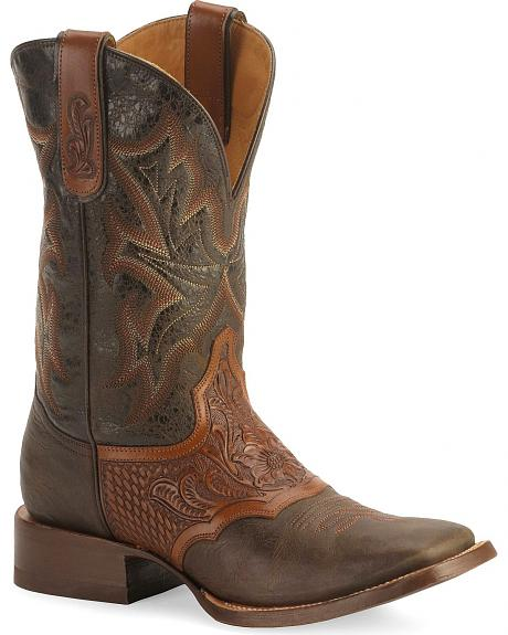 Stetson Brown Tooled Saddle Vamp Cowboy Boots - Wide Square Toe