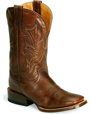 Stetson Hand-burnished Ficcini Cowboy Boots - Wide Square Toe