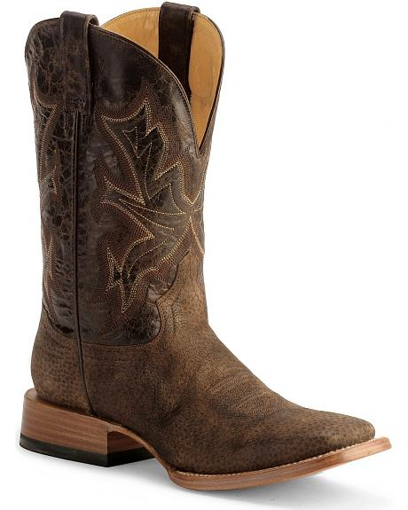 Stetson Brown Hand-Sanded Boot - Wide Square Toe