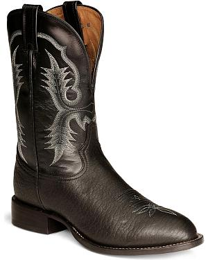 Tony Lama Black Bullhide Stockman Boots - Round Toe