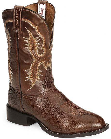 Tony Lama Chocolate Stockman Cowboy Boots - Round Toe