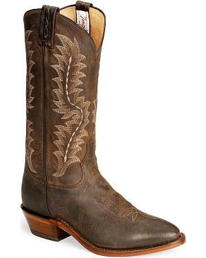 Tony Lama Chocolate Goat Skin Cowboy Boot - Medium Toe