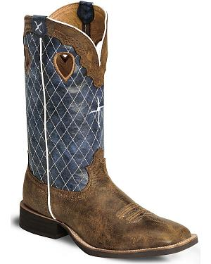 Twisted X Distressed Ruff Stock Cowboy Boot - Wide Square Toe