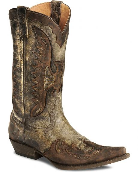 Stetson Distressed Eagle Cowboy Boots - Pointed Toe