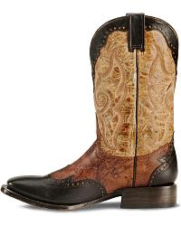 Stetson Antiqued Wingtip Horseman Cowboy Boots at Sheplers