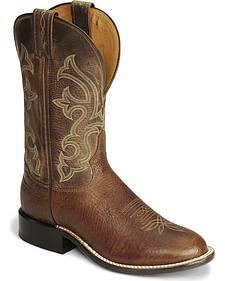 """Tony Lama 11"""" Cognac Conquistador Shoulder Boots - Round Toe"""
