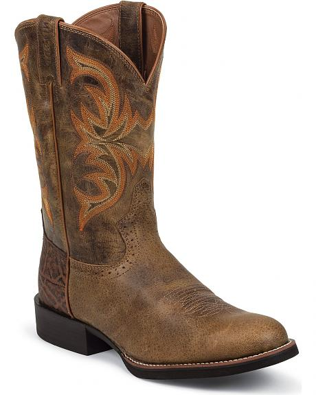 Justin Stampede Puma Cowboy Boots - Round Toe